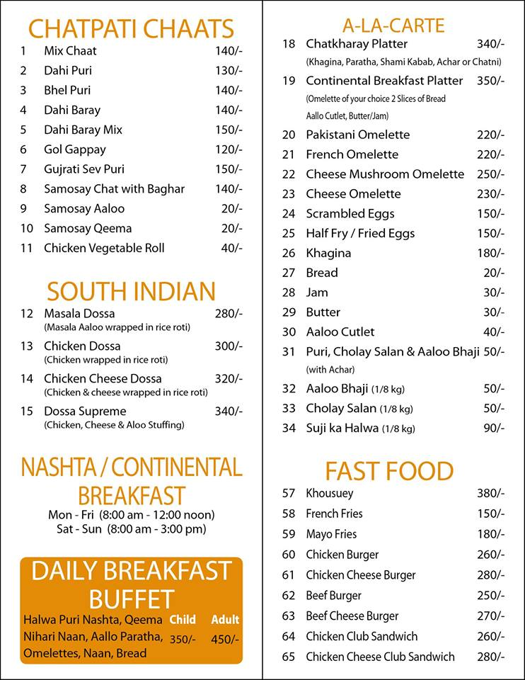 Chatkharay Inn Karachi Menu Card 1
